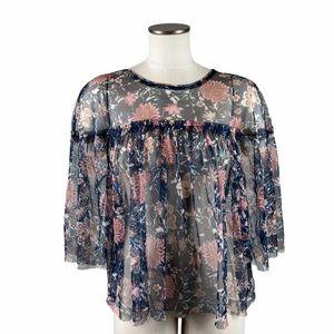 4/$25 Belle Sky Sheer Tulle Floral Top Medium